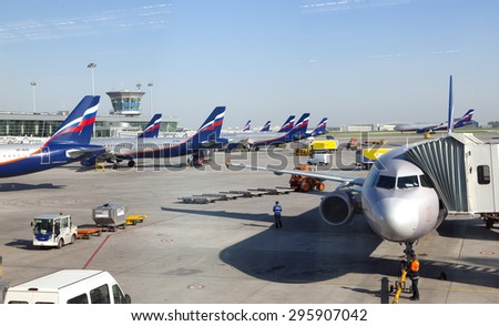MOSCOW-MAY 8: planes at the Sheremetyevo International airport on May 8, 2010 in Moscow, Russia - stock photo