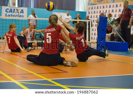 MOSCOW - MAY 11: Some players in action at 4 Open Moscow sitting volleyball match between Russia (red) and the Netherlands (white), final score 3-0, on May 11, 2014, in stadium CSP Izmailovo, Russia