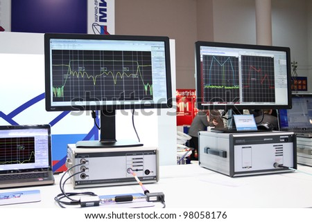 MOSCOW-MAY 11: Spectrum analyzer at the international exhibition of the telecommunications industry Sviaz-Expocomm on May 11, 2011 in Moscow - stock photo