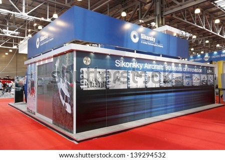 "MOSCOW-MAY 16:The stand dedicated to the 90th anniversary of the company ""Sikorsky"" at the International Exhibition  Helicopter Industry on May 16, 2013 in Moscow"