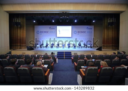 MOSCOW - NOV 21: Representatives of the organizations on the International Conference Real Estate Managementin Corporations in the President Hotel, on Nov 21, 2012 in Moscow, Russia