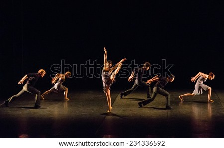 "MOSCOW - NOVEMBER, 26:  Festival of  Contemporary choreography ""Context. Diana Vishneva"" at The Theatre of Mossovet. November 26, 2014 in Moscow, Russia - stock photo"