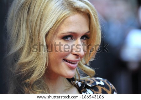 "MOSCOW - NOVEMBER 2: Paris Hilton visits ""June"" shopping mall near Moscow to unveil her walk of fame star, as she is greeted by hundreds of Russian fans on November 2, 2013 in Mytishchi. - stock photo"