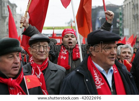 MOSCOW - NOVEMBER 7: Russian communist supporter shouts slogans during a rally to mark the anniversary of the 1917 Bolshevik revolution November 7, 2009 in Moscow, Russia.