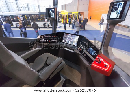 MOSCOW - OCT 30, 2014: In tram cabin at exhibition city transport ExpoCityTrans 2014 - stock photo