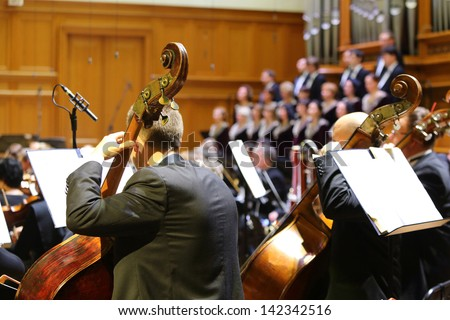 MOSCOW - OCT 4: Symphony Orchestra performs at Gala evening dedicated to 100th anniversary of All-Russian Museum Association of Musical Culture Glinka at Moscow Conservatory, Oct 4 2012 Moscow Russia. - stock photo