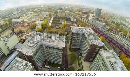 MOSCOW - OCT 10: ( UAV view)  Office and hotel complex Vivaldi Plaza against railway on October 10, 2013 in Moscow, Russia.