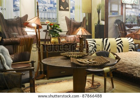 MOSCOW OCTOBER 26: Exhibition Of Furniture Made Of Palm Tree Fijian Pacific  Green Company