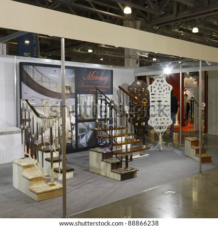 MOSCOW, OCTOBER 26: Exposition of stairs French company Ferrures et Patine and the Italian company at the international exhibition Edilco Beautiful home in October 26.2011 in Moscow, Russia