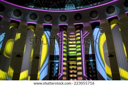 "MOSCOW - OCTOBER 11, 2014: international festival ""Circle of light"", illumination in VDNH (main Russian exhibition centre). - stock photo"