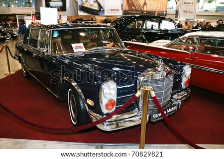 MOSCOW - OCTOBER 08: Mercedes-Benz 600 W100 Pullman, 1971 at the Moscow Exhibition of technical antiques on October 08, 2010 in Moscow, Russia. - stock photo