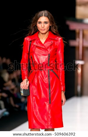 MOSCOW - OCTOBER 16: Model walks runway  at  MD  Makhmudov Djemal the  Collection for Spring/ Summer 2017 during Mercedes-Benz Fashion Week on October 16, 2016 in Moscow, Russia