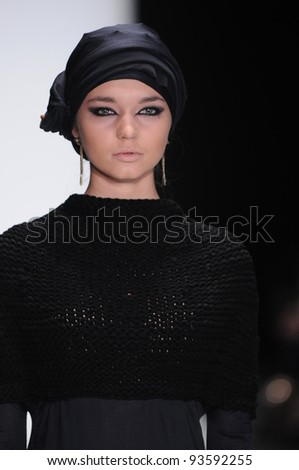 MOSCOW - OCTOBER 24: Model walks runway at the Veronika Basharatian Collection for Spring/ Summer 2012 during Mercedes-Benz Fashion Week on October 24, 2011 in Moscow, Russia