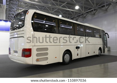 MOSCOW-OCTOBER 26: Passenger bus of German company MAN on display at the international exhibition MAF on October 26, 2011 in Moscow, Russia. - stock photo
