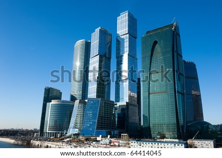 MOSCOW - OCTOBER 31: The Moscow International Business Center, Moscow-City on October 31, 2010 in Moscow. MIBC is one of the largest construction projects in Europe - stock photo