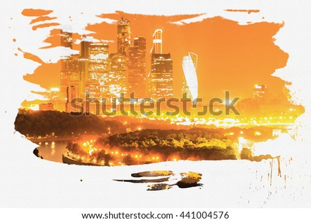 """Moscow panorama skyline. Moscow International Business Center """"Moscow City"""".  Design in the style of pencil and watercolor on canvas.  - stock photo"""