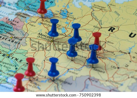 Moscow pinned closeup map football world stock photo royalty free moscow pinned in a closeup map for football world cup 2018 in russia gumiabroncs Images