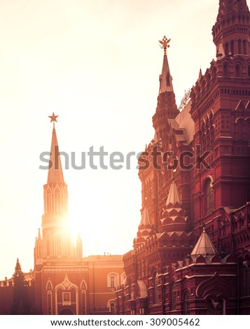 Moscow, Red square. Historical museum and Nikolskaya Tower of Kremlin in sunset