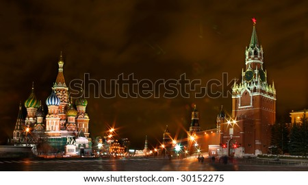 Moscow. Red Square. Saint Basil Cathedral at night panorama - stock photo