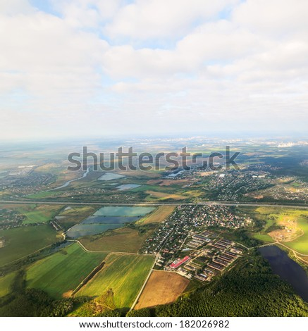 Moscow region bird's-eye view. - stock photo