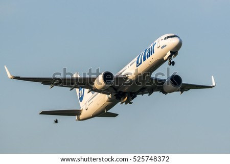 Moscow region, Domodedovo, Russia - July 04, 2013: Boeing 757-200 VP-BPB Utair aviation taking off at Domodedovo international airport at early morning.