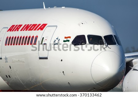 Moscow region, Domodedovo, Russia - July 07, 2014:  First flight Boeing 787 Dreamliner VT-ANP Air India to the Moscow Domodedovo International airport