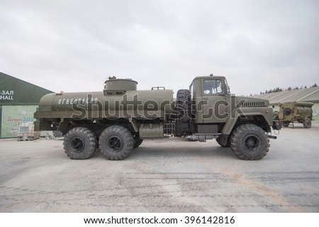 MOSCOW REGION, RUSSIA - DECEMBER 8, 2015 : Soviet tanker AC-10-260 on the basis of KrAZ-260 rear view with raised door