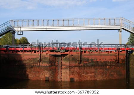 MOSCOW REGION, RUSSIA - SEPTEMBER 17, 2015: View of Channel named after Moscow, the lock on the channel. Example of Stalin style architecture, popular landmark.