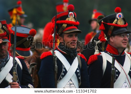 MOSCOW REGION - SEPTEMBER 02: Unknown soldiers at Borodino historical reenactment battle at its 200th anniversary on September 02, 2012 in Borodino, Moscow Region, Russia.