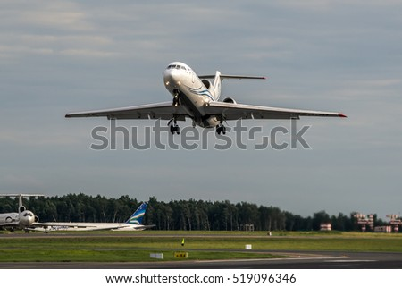Moscow region, Vnukovo, Russia - June 18, 2013: Soviet passenger airplane Yakovlev Yak-42D Gazpromavia RA-42438 taking off at Vnukovo International airport..