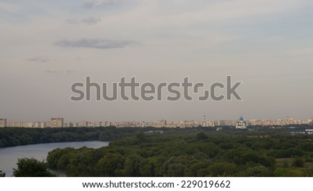 Moscow river in Kolomenskoye, Moscow, Russia  - stock photo
