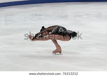 MOSCOW, RUSSIA - APR 30: World championship on figure skating 2011. Yuna Kim - performance of the silver medallist in single ladies free figure skating on April 30, 2011 in Moscow. - stock photo