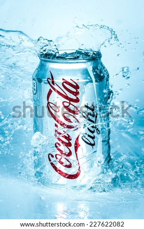 MOSCOW, RUSSIA-APRIL 4, 2014: Can of Coca-Cola Lignt in water. Coca-Cola is a carbonated soft drink sold in stores, restaurants, and vending machines throughout the world. - stock photo