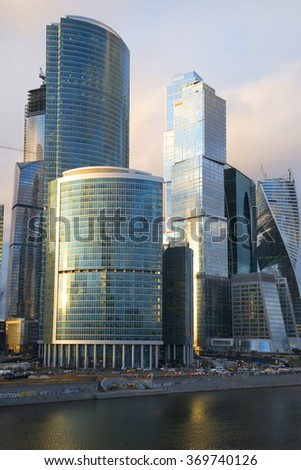 "MOSCOW, RUSSIA - APRIL 14, 2015: Complex ""Moscow-city"" closeup April evening"