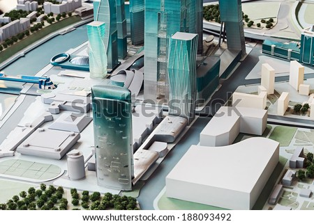 "Moscow, Russia - April 13, 2014: Conceptual layout of the shopping and business center ""Moscow City"". Unique project involves the construction of more than 4.5 million sq.m. office and hotel space."