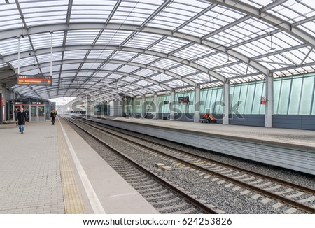 "Moscow, Russia - April 5, 2017: Station ""luzhniki"" of Moscow Central Circle railway. Encircle Line was built in 1908, in September 2016 opened after reconstruction"