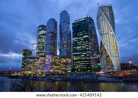 "MOSCOW, RUSSIA - APRIL 14, 2015: The modern complex ""Moscow-city"" cloud night in April"