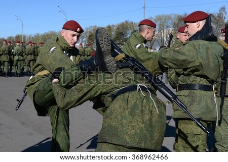 MOSCOW, RUSSIA - APRIL 24, 2014: The soldiers of internal troops of the MIA of Russia are preparing to parade in red square.