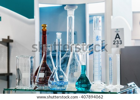 MOSCOW, RUSSIA - April 12, 2016: The 14th International Exhibition of laboratory equipment and chemical reagents in Moscow. Medical and laboratory equipment at the exhibition - stock photo
