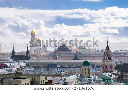 MOSCOW, RUSSIA - APRIL 17, 2015: View of the Moscow from observation deck on the building of the Central Children's Store, Moscow , Russia  - stock photo