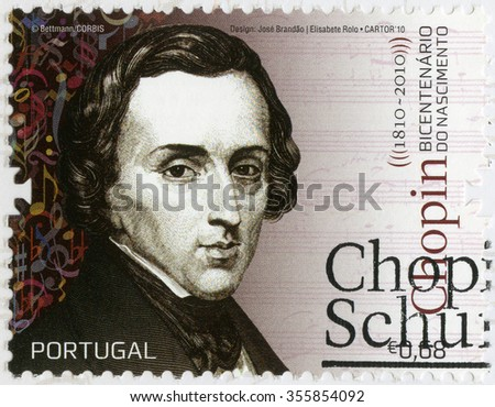 MOSCOW, RUSSIA - AUGUST 04, 2013: A stamp printed by Portugal shows Frederic Chopin (1810-1849), composer and virtuoso pianist, 2010 - stock photo