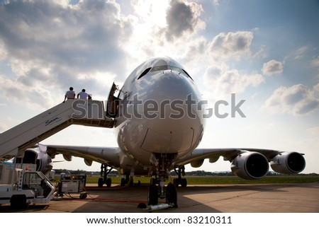 MOSCOW, RUSSIA, AUGUST 16: AIRBUS A380 at the International Aviation and Space salon MAKS 2011. August,16, 2011 at Zhukovsky, Russia - stock photo