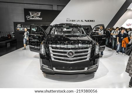 MOSCOW, RUSSIA - August 26: Cadillac cars at MIAS 2014 in Moscow, 26 August 2014 - stock photo