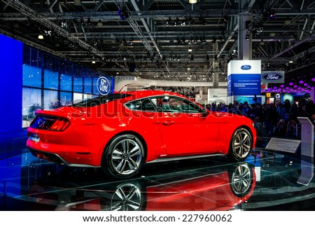 MOSCOW, RUSSIA - August 26: Ford Mustang at MIAS 2014 in Moscow, 26 August 2014 - stock photo