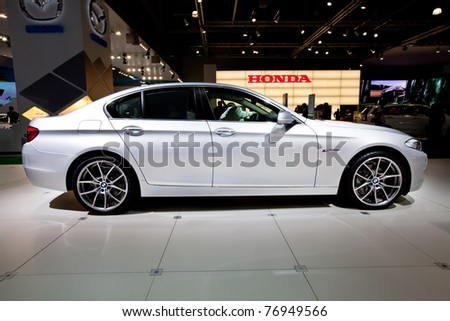 MOSCOW, RUSSIA - AUGUST 25:  Grey car BMW 523 on display at Moscow International exhibition InterAuto on August 25, 2010 in Moscow, Russia.