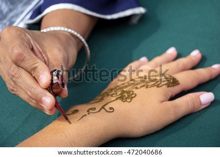 Moscow, Russia - August  14, 2016: Independence Day of India Celebration. Indian Henna Design.