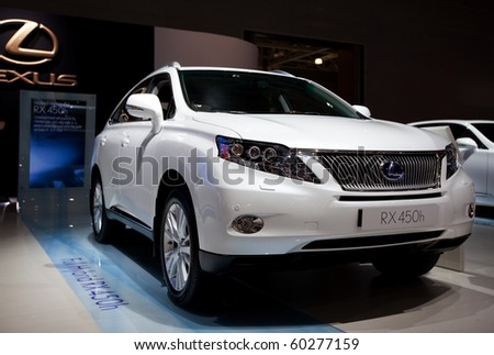 MOSCOW, RUSSIA - AUGUST 26: Lexus Full Hybrid RX 450h is presented on 26 August 2010, Moscow, Russia. Moscow International Autosalon is the largest in Eastern Europe - stock photo
