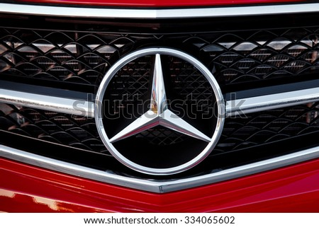 moscow russia august 23 2015 mercedes benz logo close up