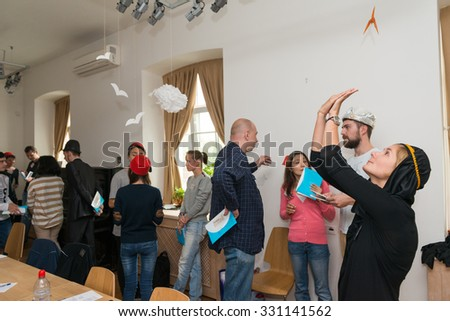 MOSCOW, RUSSIA - August 31, 2014 - Participants of social quest role playing game with Arab Mystery Detective Investigation theme