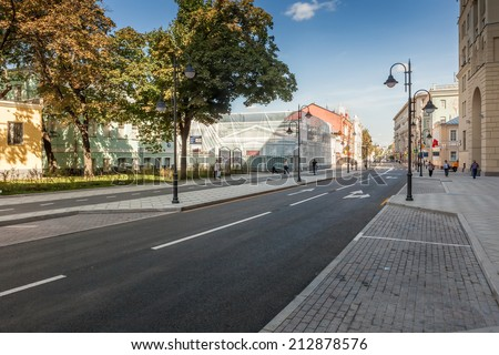 MOSCOW, RUSSIA - AUGUST 24 2014: Pyatnitskaya street after renovation with locals and tourists. Moscow city government reconstruct whole street conception and made it pedestrianized at weekends.
